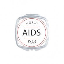 1st December World AIDS Day HIV Awareness Solidarity Symbol Square Compact Makeup Pocket Mirror Portable Cute Small Hand Mirrors Gift