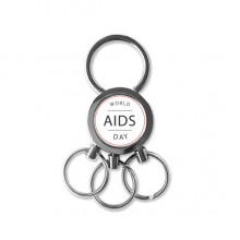 1st December World AIDS Day HIV Awareness Solidarity Symbol Metal Key Chain Ring Car Keychain Creative Trinket Keyring Novelty Item Best Charm Gift