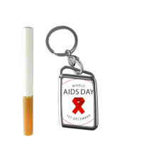 1st December Red Ribbon World AIDS Day HIV Awareness Solidarity Symbol Cigarette Lighter USB Electric Arc Metal Flameless Rechargeable Windproof Lighter Elegant Gift Box