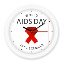 1st December Red Ribbon World AIDS Day HIV Awareness Solidarity Symbol Silent Non-ticking Round Wall Decorative Clock Battery-operated Clocks Home Decal
