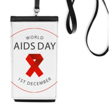 1st December Red Ribbon World AIDS Day HIV Awareness Solidarity Symbol Faux Leather Smartphone Hanging Purse Black Phone Wallet Gift