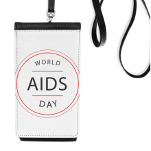 1st December World AIDS Day HIV Awareness Solidarity Symbol Faux Leather Smartphone Hanging Purse Black Phone Wallet Gift