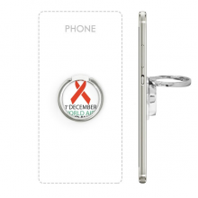 1st December World AIDS Day HIV Solidarity Awareness Symbol Metal Rotation Ring Stand Holder Bracket for Smartphones Cell Phone Support Accessories Gift