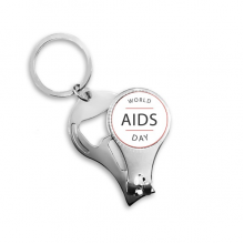1st December World AIDS Day HIV Awareness Solidarity Symbol Metal Key Chain Ring Multi-function Nail Clippers Bottle Opener Car Keychain Best Charm Gift