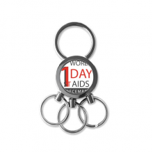 1st December World AIDS Day Solidarity HIV Awareness Symbol Metal Key Chain Ring Car Keychain Creative Trinket Keyring Novelty Item Best Charm Gift