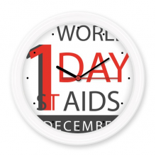 1st December World AIDS Day Solidarity HIV Awareness Symbol Silent Non-ticking Round Wall Decorative Clock Battery-operated Clocks Home Decal