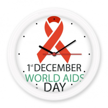 1st December World AIDS Day HIV Solidarity Awareness Symbol Silent Non-ticking Round Wall Decorative Clock Battery-operated Clocks Home Decal
