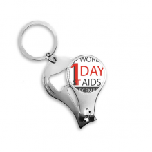1st December World AIDS Day Solidarity HIV Awareness Symbol Metal Key Chain Ring Multi-function Nail Clippers Bottle Opener Car Keychain Best Charm Gift