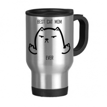 Animal Protector Pet Lover Pet Slave Comic Style Cartoon Best Cat Dad ever Creative Pattern Stainless Steel Travel Mug Travel Mugs Gifts With Handles 13oz