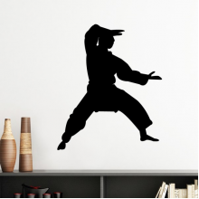 China Chinese Martial Art Shaolin Kung Fu Monk Soldier Traditional Culture Illustration Pattern Silhouette  Removable Wall Sticker Art Decals Mural DIY Wallpaper for Room Decal