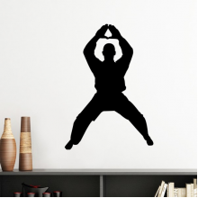 China Chinese Shaolin Kung Fu Martial Art Monk Soldier Traditional Culture Illustration Pattern Silhouette  Removable Wall Sticker Art Decals Mural DIY Wallpaper for Room Decal