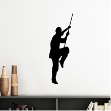 China Chinese Shaolin Stick Martial Art Monk Soldier Kung Fu Traditional Culture Illustration Pattern Silhouette  Removable Wall Sticker Art Decals Mural DIY Wallpaper for Room Decal