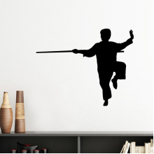 China Chinese Shaolin Stick Martial Art Kung Fu Monk Soldier Traditional Culture Illustration Pattern Silhouette  Removable Wall Sticker Art Decals Mural DIY Wallpaper for Room Decal