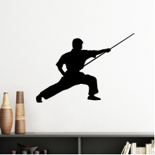China Chinese Shaolin Stick Kung Fu Martial Art Monk Soldier Traditional Culture Illustration Pattern Silhouette  Removable Wall Sticker Art Decals Mural DIY Wallpaper for Room Decal