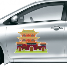 China Chinese Architecture Landmark Traditional Culture Illustration Pattern Car Sticker on Car Styling Decal Motorcycle Stickers for Car Accessories