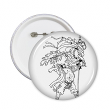 Masterpiece The Romance of the Three Kingdoms China Chinese Figure Line Drawing Round Pins Badge Button Clothing Decoration Gift 5pcs