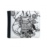 China Chinese Masterpiece the Classic of Mountains and Rivers Figure Armadillo Line Drawing Flip Bifold Faux Leather Wallet  Multi-Function Card Purse Gift