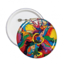 Abstract Color Elements Oil Painting Illustration Pattern Round Pins Badge Button Clothing Decoration Gift 5pcs