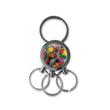 Abstract Color Elements Oil Painting Illustration Pattern Metal Key Chain Ring Car Keychain Creative Trinket Keyring Novelty Item Best Charm Gift