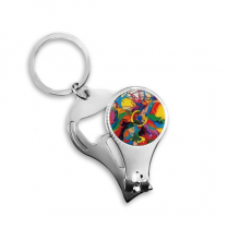 Abstract Color Elements Oil Painting Illustration Pattern Metal Key Chain Ring Multi-function Nail Clippers Bottle Opener Car Keychain Best Charm Gift