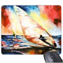 Oil Painting Colorful Sea Ocean Sailing Boat Surfing Abstract Landscape Illustration Pattern Mouse Pad Non-Slip Rubber Mousepad Game Office