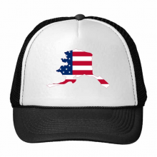 The United States Of America USA Alasa Map Stars And Stripes Flag Shape Trucker Hat Baseball Cap Nylon Mesh Hat Cool Children Hat Adjustable Cap Gift