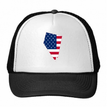 The United States Of America USA Nevada Map Stars And Stripes Flag Shape Trucker Hat Baseball Cap Nylon Mesh Hat Cool Children Hat Adjustable Cap Gift