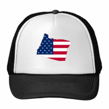 The United States Of America USA Oregon Map Stars And Stripes Flag Shape Trucker Hat Baseball Cap Nylon Mesh Hat Cool Children Hat Adjustable Cap Gift