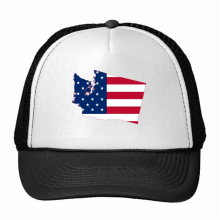 The United States Of America USA Washington Map Stars And Stripes Flag Shape Trucker Hat Baseball Cap Nylon Mesh Hat Cool Children Hat Adjustable Cap Gift