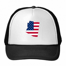 The United States Of America USA Arizona Map Stars And Stripes Flag Shape Trucker Hat Baseball Cap Nylon Mesh Hat Cool Children Hat Adjustable Cap Gift