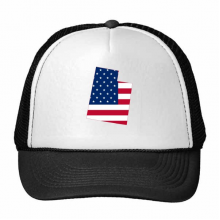 The United States Of America USA Utah Map Stars And Stripes Flag Shape Trucker Hat Baseball Cap Nylon Mesh Hat Cool Children Hat Adjustable Cap Gift