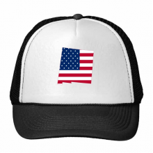 The United States Of America USA New Mexico Map Stars And Stripes Flag Shape Trucker Hat Baseball Cap Nylon Mesh Hat Cool Children Hat Adjustable Cap Gift