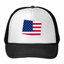 The United States Of America USA Wyoming Map Stars And Stripes Flag Shape Trucker Hat Baseball Cap Nylon Mesh Hat Cool Children Hat Adjustable Cap Gift