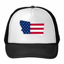 The United States Of America USA Montana Map Stars And Stripes Flag Shape Trucker Hat Baseball Cap Nylon Mesh Hat Cool Children Hat Adjustable Cap Gift