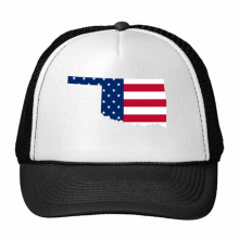 The United States Of America USA Oklahoma Map Stars And Stripes Flag Shape Trucker Hat Baseball Cap Nylon Mesh Hat Cool Children Hat Adjustable Cap Gift