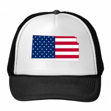 The United States Of America USA Kansas Map Stars And Stripes Flag Shape Trucker Hat Baseball Cap Nylon Mesh Hat Cool Children Hat Adjustable Cap Gift