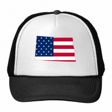 The United States Of America USA North Dakota Map Stars And Stripes Flag Shape Trucker Hat Baseball Cap Nylon Mesh Hat Cool Children Hat Adjustable Cap Gift