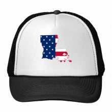 The United States Of America USA Louisiana Map Stars And Stripes Flag Shape Trucker Hat Baseball Cap Nylon Mesh Hat Cool Children Hat Adjustable Cap Gift