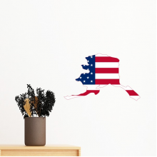 The United States Of America USA Alasa Map Stars And Stripes Flag Shape Removable Wall Sticker Art Decals Mural DIY Wallpaper for Room Decal