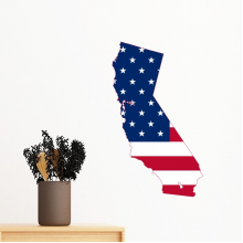 The United States Of America USA California Map Stars And Stripes Flag Shape Removable Wall Sticker Art Decals Mural DIY Wallpaper for Room Decal
