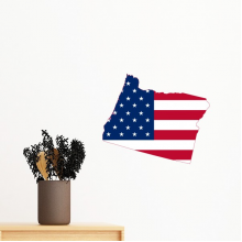 The United States Of America USA Oregon Map Stars And Stripes Flag Shape Removable Wall Sticker Art Decals Mural DIY Wallpaper for Room Decal