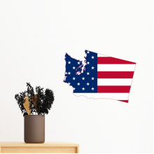 The United States Of America USA Washington Map Stars And Stripes Flag Shape Removable Wall Sticker Art Decals Mural DIY Wallpaper for Room Decal