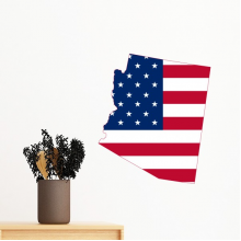 The United States Of America USA Arizona Map Stars And Stripes Flag Shape Removable Wall Sticker Art Decals Mural DIY Wallpaper for Room Decal
