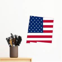 The United States Of America USA New Mexico Map Stars And Stripes Flag Shape Removable Wall Sticker Art Decals Mural DIY Wallpaper for Room Decal