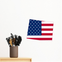 The United States Of America USA Wyoming Map Stars And Stripes Flag Shape Removable Wall Sticker Art Decals Mural DIY Wallpaper for Room Decal