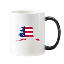 The United States Of America USA Alasa Map Stars And Stripes Flag Shape Morphing Heat Sensitive Changing Color Mug Cup Gift Milk Coffee With Handles 350 ml