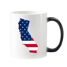 The United States Of America USA California Map Stars And Stripes Flag Shape Morphing Heat Sensitive Changing Color Mug Cup Gift Milk Coffee With Handles 350 ml