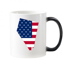 The United States Of America USA Nevada Map Stars And Stripes Flag Shape Morphing Heat Sensitive Changing Color Mug Cup Gift Milk Coffee With Handles 350 ml