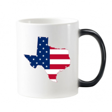 The United States Of America USA Texas Map Stars And Stripes Flag Shape Morphing Heat Sensitive Changing Color Mug Cup Gift Milk Coffee With Handles 350 ml