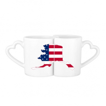 The United States Of America USA Alasa Map Stars And Stripes Flag Shape Lovers' Mug Lover Mugs Set White Pottery Ceramic Cup Gift Milk Coffee Cup with Handles